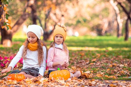 Little adorable girls with pumpkin outdoors on a warm autumn day. Imagens