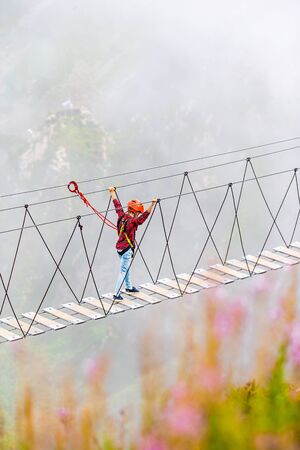 The rope bridge on the top of mountain of Rosa Khutor, Russia