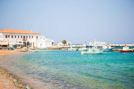 View of traditional greek village with white houses on Mykonos Island, Greece, Europe Zdjęcie Seryjne