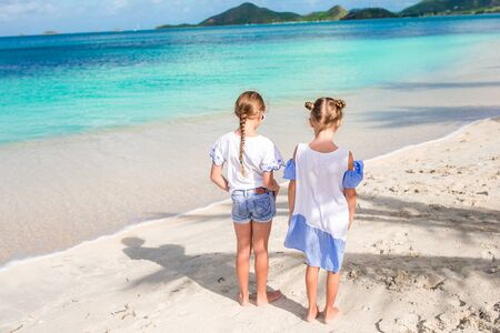 Adorable little girls walking on the beach Banque d'images - 133779785