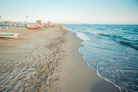 Beautiful view of amazing beach at famous Forte dei Marmi, Italy