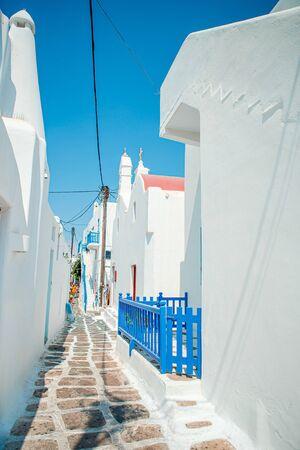 Typical blue door with blue door. Greece, Mykonos