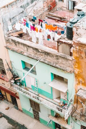 Authentic view of the street of old Havana with old buildings Reklamní fotografie