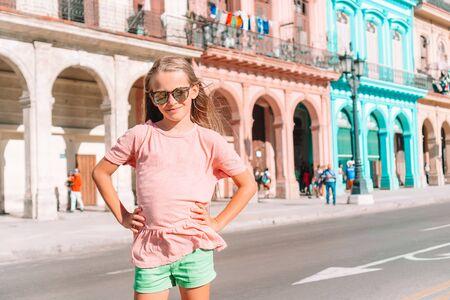 Adorable little girl in popular area on the street in Old Havana, Cuba.