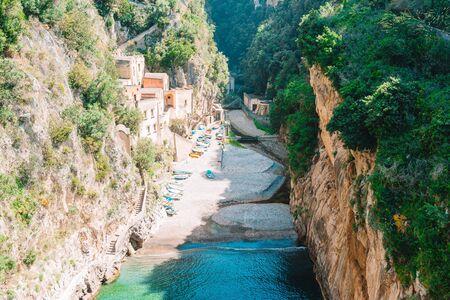 Famous fiordo di furore beach seen from bridge.