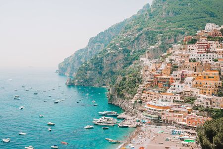 Picturesque famous and beautiful Positano, Amalfi Coast, Italy. View of popular Spiaggia Grande in Positano