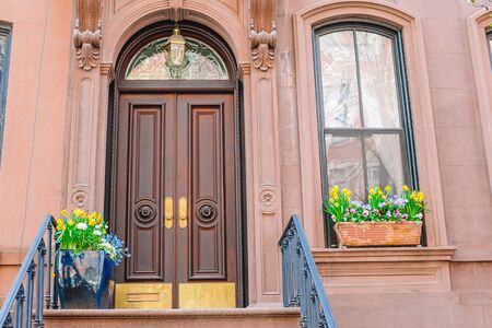 Historic district of West Village and empty streets at New York Manhattan, USA