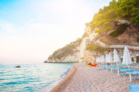 Empty beach in the natural reserve in Europe. White umbrellas and beach loungers