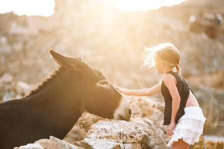 Little girl with donkey on the island of Mykonos Imagens