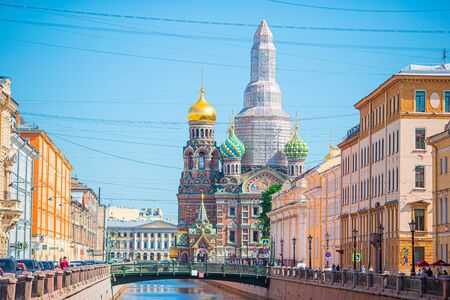Church of the Savior on Spilled Blood in Saint Petersburg at Russia. Orthodox Church Spas na Krovi
