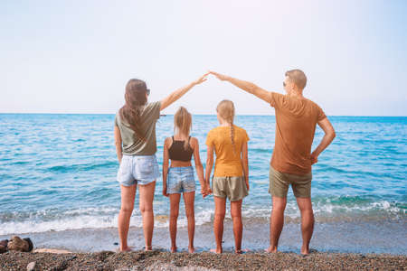 Young family on vacation have a lot of fun 版權商用圖片
