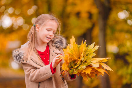 Portrait of adorable little girl outdoors at beautiful warm day with yellow leaf in fall Reklamní fotografie
