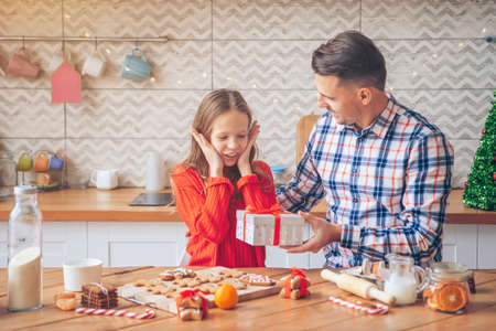 Family of dad and daughter on Christmas vacation Stock fotó