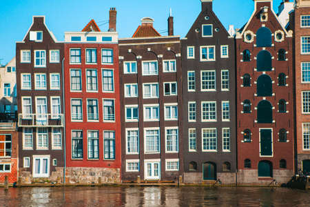Traditional dutch medieval houses in Amsterdam capital of Netherlands Stock Photo