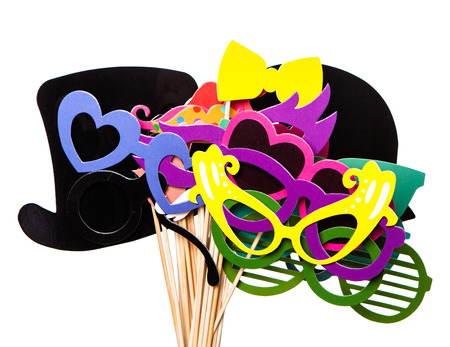 photo of accessories: Photobooth Birthday and Party Set - glasses, hats, crowns, masks, lips, mustaches Stock Photo