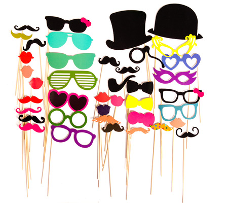 mustaches: Photobooth Birthday and Party Set - glasses, hats, crowns, masks, lips, mustaches Stock Photo