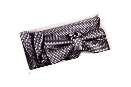 cufflink: Bow tie, handkerchief and cufflinks. Wedding accessories groom