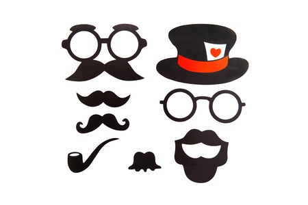 Photobooth Birthday and Party Set - glasses, hats, crowns, masks, lips, mustaches.