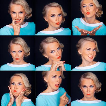 foto carnet: Cabina de fotos. Expresiones faciales Múltiples de la mujer hermosa aislado más negro.
