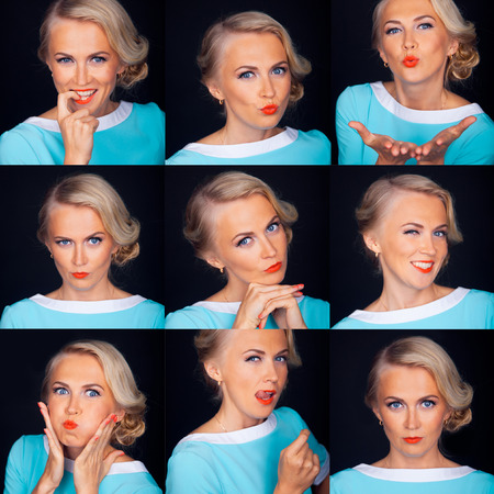 photo: Photo booth. Multiple facial expressions of beautiful woman isolated over black.