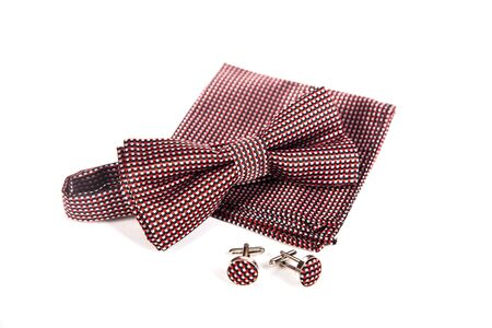 cuff link: Bow tie, handkerchief and cufflinks. Wedding accessories groom