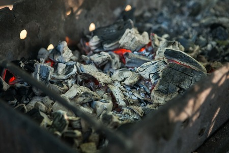 burning coals and flames background. Fire Burning Stock Photo