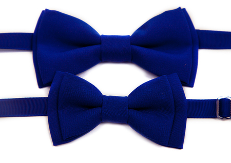 Blue bow tie isolated on white background. Big and small for dad and child. Stock Photo
