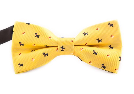 Yellow bow with icons close-up for parties, weddings, isolate on white background