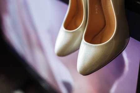 Elegant white shoes for bright, bridal, ready for the wedding