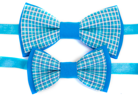 Wonderful accessories in a stylish tie bow ties in the cell design of white and blue, for dad and child Imagens