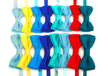 a lot amount colorful of bow tie, top view Imagens