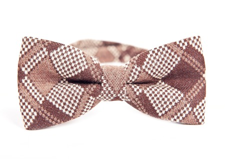 Brown handmade bow tie made of such materials as wool Imagens