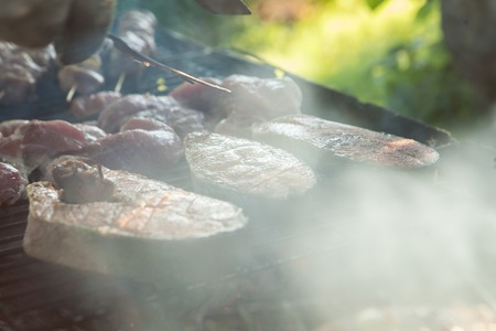 Three saturated fresh fish pieces are cooked on grilled coals on a background of a meat mix of smoke