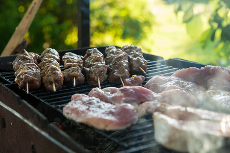 Bar-B-Q or barbecue with the preparation of shish kebab. Grilled charcoal grilled kebab with vegetables, cooked in the open air, lunch, supper in the barbecue Imagens