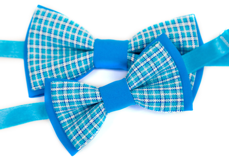 Wonderful accessories in a stylish tie bow ties in the cell design of white and blue, for male and child