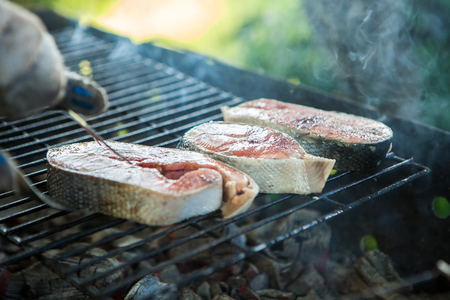 Barbecue garden grill with fresh sea fish, close-up, outdoor