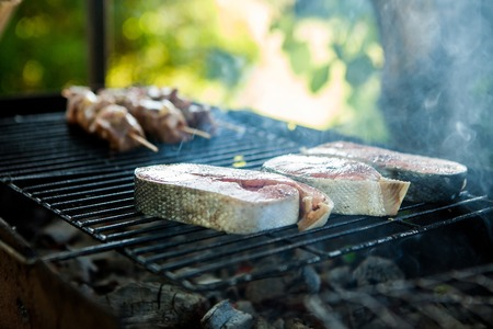 Focus on the seasoned salmon fillet, in the background a barbecue cooked on charcoal grill in a fresh area
