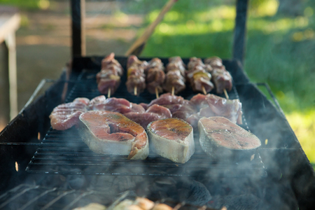 Delicious fish, cooked fried fried fried baked outdoors on a fire. Imagens
