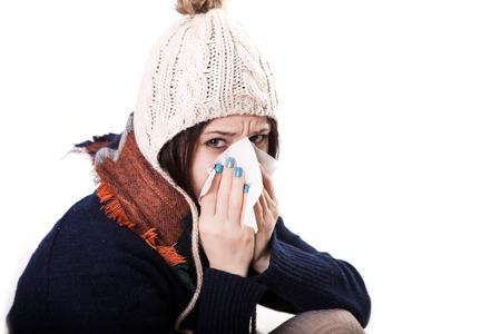 Illness And Sickness. Closeup Of Beautiful Woman Feeling Sick Dripping Nasal Drops In Blocked Nose.