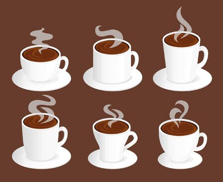 group of different cups of coffee, tall, short