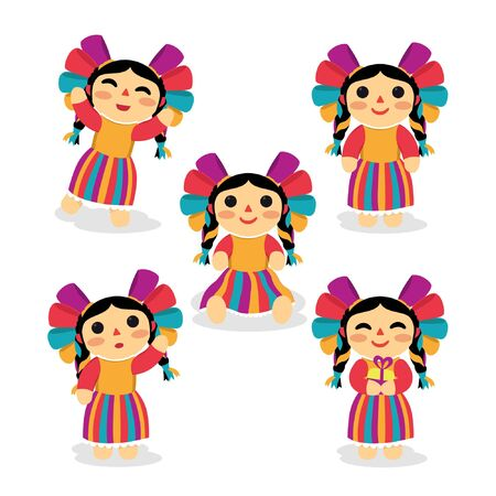colorful mexican traditional doll with different poses Vectores