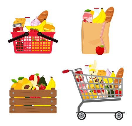 Grocery shopping in basket, wooden box, paper bag and grocery cart