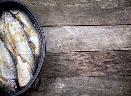 prepared: The raw trout prepared for baking Stock Photo