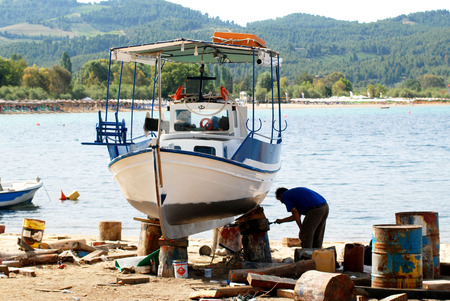 removed: The boat is removed from the water ready for painting