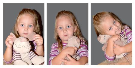 dearest: Pretty little girl is holding her favorite toy