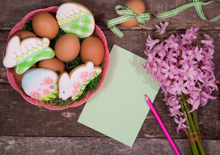 Preparation for painting colorful Easter eggs