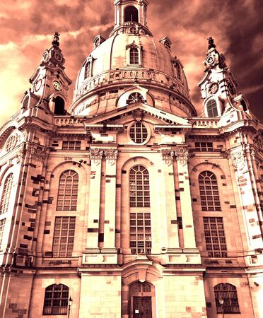 The church Frauenkirche in the German Metropol dresden. This very big and beautiful building is very important for the Dresden people.