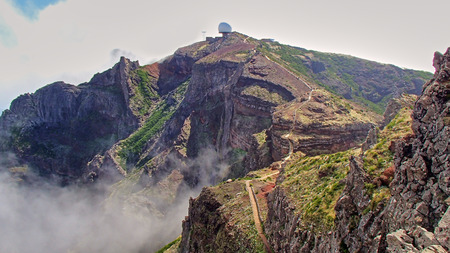 The white ball at the observatory in the clouds in the mountains of the Portuguese Atlantic island of Madeira Island