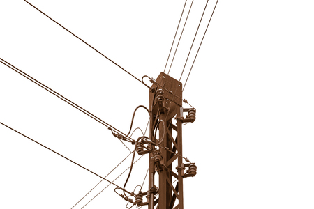 Rusty old telephone or telegraph pole in front of white background With copy space on the right-hand side