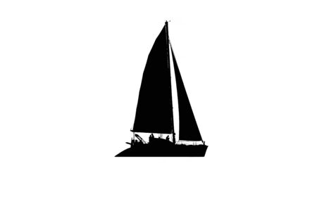 Silhouette of a sailboat with people on board, black and white, cutout Archivio Fotografico